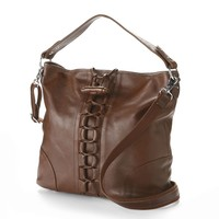 AmeriLeather Mandy Leather Laced Convertible Tote (Brown)