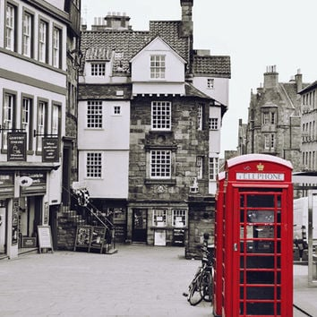 Red Phone Box Edinburgh Print, Royal Mile, Scotland, Telephone Booth, Large City Wall Art, Architectural, Black and White Photograph, Urban