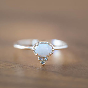 Unique opal gold ring, large opal solitaire ring, October birthstone ring, 14k solid gold natural opal ring, opal diamond ring, ado-r106-opa
