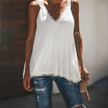 Lace Trim Double V Neck Summer Top Sexy Tops for Women Fitness Tank Top Fashion Elegant Workwear Women's Sleeveless Loose Tops