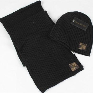 DCCKV3X Louis Vuitton Fashion Beanies Knit Winter Hat Cap Scarf Scarves Set Two-Piece