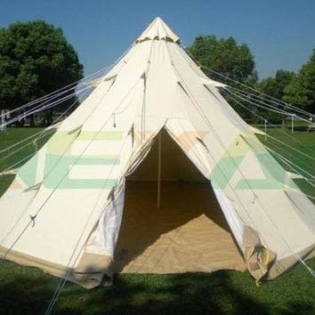 Large Native American Indian Style Pyramid Camping Tent 6 Person Family Tepee