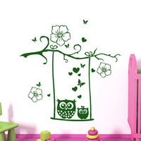 Wall Decals Owl Childrens Decor Kids Vinyl Sticker Flowers Butterflies Hearts Wall Decal Nursery Baby Room Bedroom Playroom Owl Decor SV6017