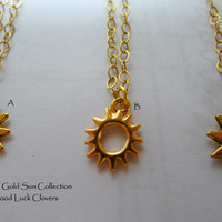 14k Gold Filled Radiant Sun Charm Necklace Assortment.  Add a Swarovski Birthstone Crystal Charm