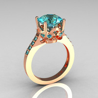 French Bridal 14K Pink Gold 3.0 Carat Aquamarine Solitaire Wedding Ring R301-14PGAQQ