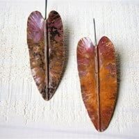 Copper Earrings - Leaf Fold Formed Earrings - Copper Silver - Handmade Artisan Jewelry - Heliconia Leaves - Made to order