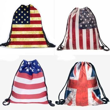 American Flag English Flag Drawstring Bags Cinch String Backpack Funny Funky Cute Novelty