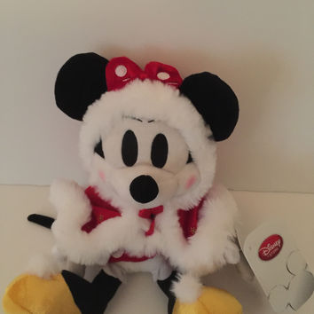 "disney store japan christmas santa minnie mouse 9"" plush new with tags"
