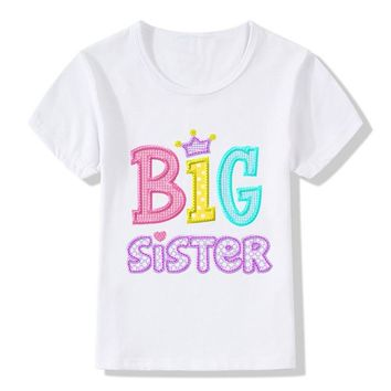 2018 Children Big Sister Print T-shirt Kids Summer Tops Baby Girls Unicorn Clothes Kids Little/Big Sister Match Clothes,HKP2182