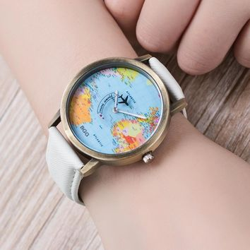 2016 New Arrival World Map casual watch analog quartz watches neutral fashion 7 colors bag Watches Fashion Geneva Watches