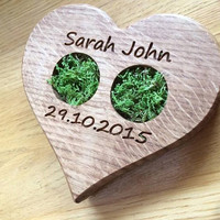 Slice, Woodland Wedding, Moss Ring Bearer Pillow, Country Wedding, Heart shaped Ring Bearer Pillow