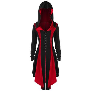 Gamiss Trendy Plus Size Lace Up Hook Button Hooded Coat Female Spring Outwear Women Gothic Color Block Thumb Hole Long Coat