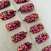 Ombrè Cheetah Nails, False, Fake