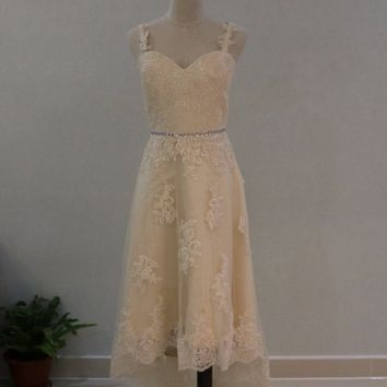 Vintage 1950's High Low Short Wedding Dress with Detachable Train Champagne Lace Boho Bridal Gowns Vestido de noiva curto