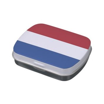 Patriotic candy tins with Flag of Netherlands