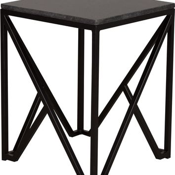 Kory End Table Powdercoated Black With A Black Granite Top
