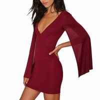 2016 Women's Clothing Explosion models women's shawls cloak sleeve short dress sexy package hip deep V dres
