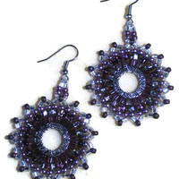 Purple and silver Circle Earrings