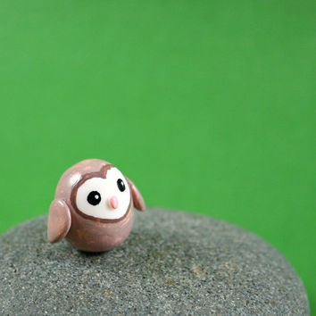 Little Barn Owl  Hand Sculpted Miniature by MadeWithClayAndLove