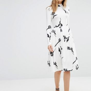 ASOS Midi Dress with High Neck in Cream Floral at asos.com