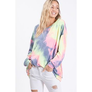 Tie Dye French Terry Top - Charcoal
