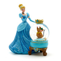 disney parks paris princess cinderella and gus glitter resin snow globe new with box