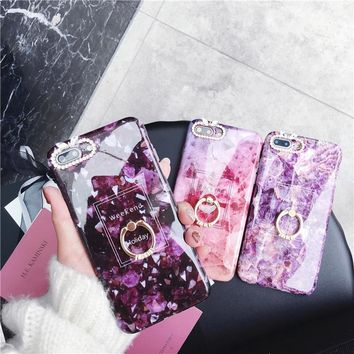 Rhinestone Band Ring Marble Phone Case