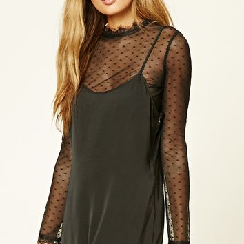 Contemporary Polka Dot Mesh Top