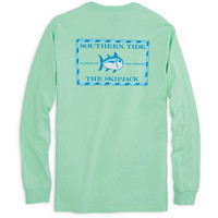 Long Sleeve Original Skipjack Tee Shirt in Offshore Green by Southern Tide