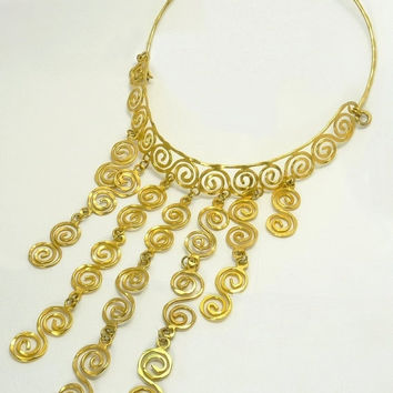 Egyptian Revival Collar Bib Necklace Wirework Scrolls Statement Jewelry
