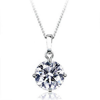 A Perfect 3CT Round Cut Russian Lab Diamond Solitaire 14K White Gold  Pendant Necklace