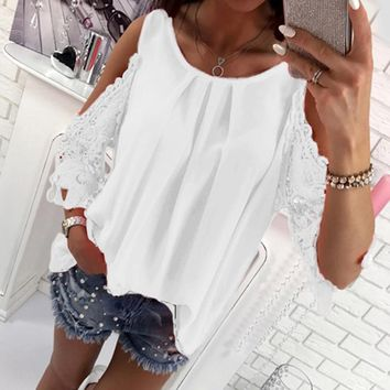 Women Blouse Shirt Summer Beach Casual Sexy Cold Shoulder Long Sleeves Hollow Out Ladies Mujer Tops Tee WS1360Y