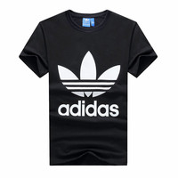 """""""Adidas"""" Men Simple Casual Classic Clover Letter Print Round Neck Short Sleeve Cotton T-shirt"""