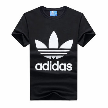 """Adidas"" Men Simple Casual Classic Clover Letter Print Round Neck Short Sleeve Cotton T-shirt"