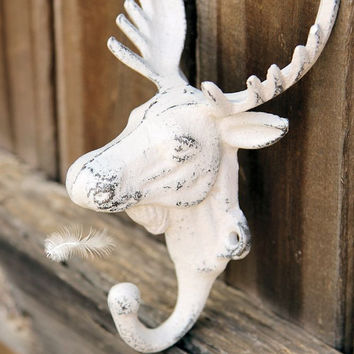 Moose Head Wall Hook // Rustic Hook // Cast Iron Wall Hook // Cottage Decor // Iron Coat Hook // Lodge Decor // Cottage Chic Moose