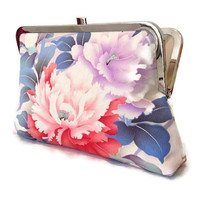"""Bridesmaid Clutch Purse, Pink Floral Silk Clutch Bag, Japanese Silk Clutch Purse, Evening Clutch Purse Made From Japanese Silk 9"""" x 5.5"""""""