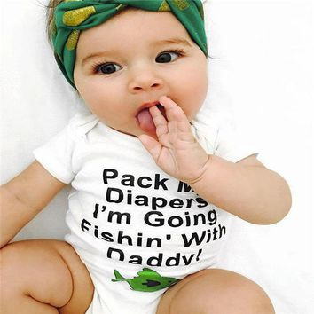 Pack My Diapers I'm Going Fishin' With Daddy Infant Baby Onesuit Bodysuit