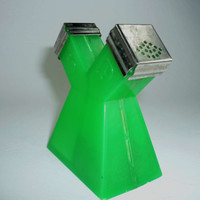 Vintage Green Plastic One Piece Salt and Pepper Shaker with Metal Tops