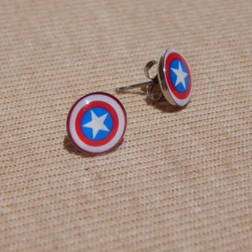 Captain America Earrings, Captain America Stud Earrings, Superhero Earrings, Glass Dome Earrings, Avengers Earrings, Captain America Shield