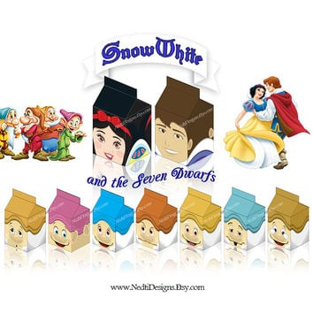 Snow White Printable Milk Box Template, DIY, Party Gift Box, Paper Favor Box, Candy Box, Party Supplies, Instant Download, JPEG, A4 Paper