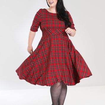 Hell Bunny Irvine Red Royal Stewart Tartan Check Vintage Retro Party Dress