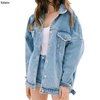 New Autumn & Winter Women Denim Jacket 2016 Harajuku Bf Wind Jean Jacket Loose Long Sleeve Female Coats Large Size Female Jacket
