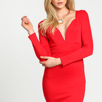 Red Sweetheart Plunge Midi Dress