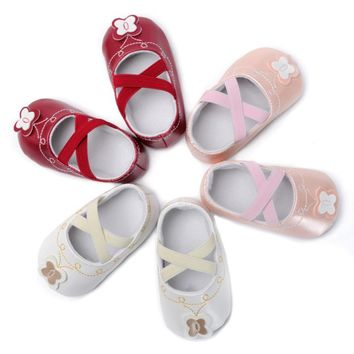 White pink red Toddler Kids Girls Elastic band Shoes Soft Anti Slip Infant Baby Butterfly Shoes Crib Leisure Shoes