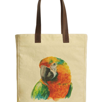 Macaw Parrot Head Beige Printed Canvas Tote Bags Leather Handles WAS_30