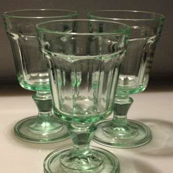 Vintage Bormioli Rocco Italy Wine Water Panel Glass Goblets Green Set of Three 8 oz. Pedestal Glasses