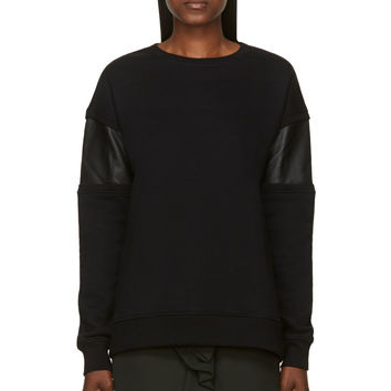 Rag And Bone Black Fleece Leather Panel Lira Sweatshirt
