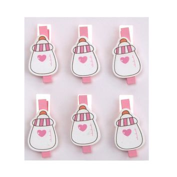Milk Bottle with Heart Wooden Clothespins Baby Favors, 2-Inch, 6-Piece, Pink