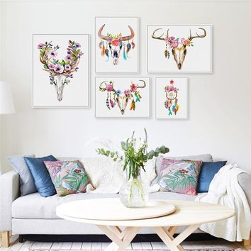 Bohemian Watercolor Deer Skull Poster Art Prints , Buffalo Bull Animal Skull With Flowers Wall Pictures Canvas Painting