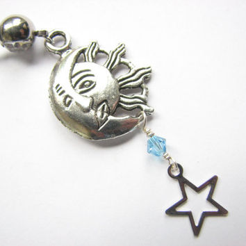 Sun Moon and Stars Belly Rings, Celestial Navel Ring Jewelry